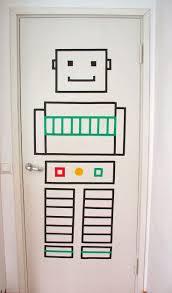 kids room washi tape robot for a kids room door art masking amp