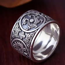 mens silver rings sterling silver 925 ring men vintage men rings 4 creatures