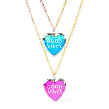 childrens lockets multicolor vibes heart locket bff necklace set the