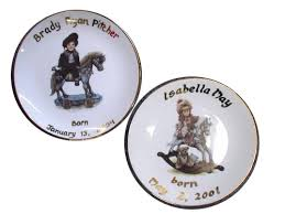 birth plates sheffield pottery birth wedding anniversary and family tree