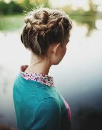 cuisiner chignon braided up do with floral blouse and teal blue cardigan lookbook