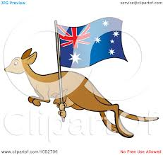 Aussie Flag Royalty Free Vector Clip Art Illustration Of A Kangaroo And Joey