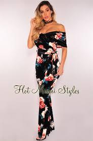 belted jumpsuit velvet floral shoulder belted jumpsuit