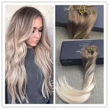 balayage hair extensions 10pcs remy balayage clip in hair extensions ash brown fading to