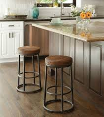 chic rustic counter stools for farmhouse kitchen ideas with grey