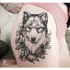 wolf ink thigh thigh small wolf
