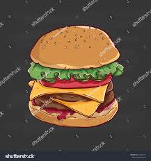 fast food cheese burger sketch color stock vector 654444256