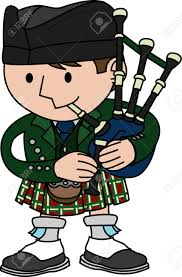 illustration of male scottish bagpiper playing bagpipes royalty