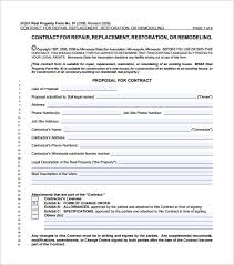 Water Damage Estimate Template by Home Remodeling Contract Template 7 Free Word Pdf Documents