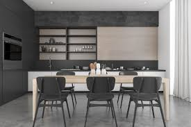 Contemporary Dining Rooms by Black Contemporary Dining Room With Kitchen 3d Model Max 3ds Fbx