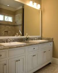 bathroom after my favorite part i repainted our oak cabinets