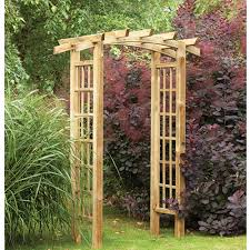 ryeford bow top pergola style timber garden arch trellis rush it uk