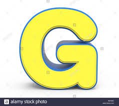 3d rendering cute yellow letter g isolated white background