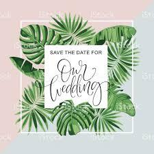 wedding invitation card tropical flowers background banana save