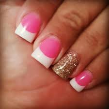 pink u0026 u0026 white nails with gold glitter u003c3 pinterest pink