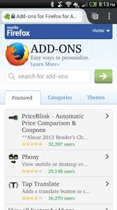 mozilla firefox android apk find and install add ons on firefox for android firefox for