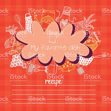 Kitchen Design Elements Recipes Concept Card With Kitchen Design Elements Stock Vector Art