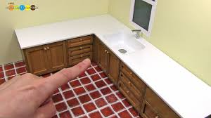 miniature dollhouse kitchen furniture diy miniature l shaped kitchen sink ミニチュアl字型の流し台作り