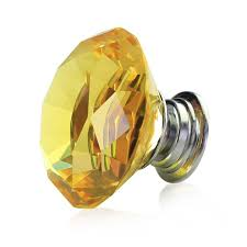 glass crystal door knobs diamond shaped yellow glass crystal cabinet pull drawer handle