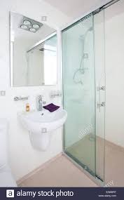 clean compact modern bathroom new commercial including mirror
