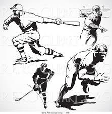 retro clipart of a retro black and white hockey and baseball