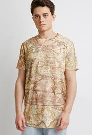 World Map T Shirt by Forever 21 Longline Map Tee In Natural For Men Lyst
