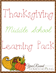 free thanksgiving middle school learning pack homeschooling