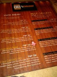 backyard bar and grill menu davao food one plate at a time february 2013