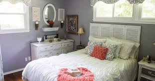 Top To Bottom Interiors Gray And Coral Bedroom Makeover Diy And Thrift From Top To