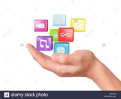 hand with application software icons social media stock photo