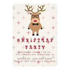 christmas party invitations nerdy reindeer christmas party invitation zazzle