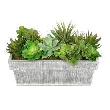 Rectangular Succulent Planter by Artificial Succulent Garden In Rectangle Planter U2013 House Of Silk