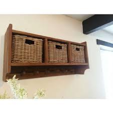 reclaimed teak coat hook storage unit 3 baskets hallway