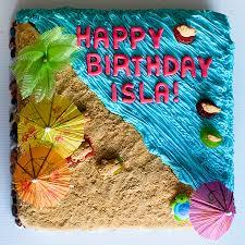 beach birthday cake with sprinkles on top