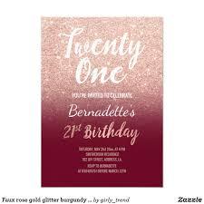 21 Birthday Invitation Cards Faux Rose Gold Glitter Burgundy 21st Birthday Birthday