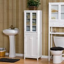 Glass Door Bathroom Cabinet - bathroom glass door corner linen cabinet in white for bathroom