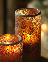 Flameless Candle Sconces With Timer 6 Inch Amber Mosaic Glass With Led Battery Operated Candle Timer