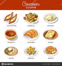 cuisine caucasienne icônes de cuisine caucasienne ou géorgien image vectorielle