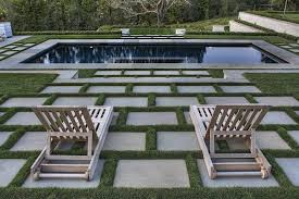 Chaise Lounge Pool Grass Lawn Designs Landscape Contemporary With Outdoor Stairs Pool