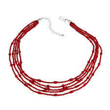 red necklace images Jay king red bamboo coral 5 strand 18 1 4 quot sterling silver jpg