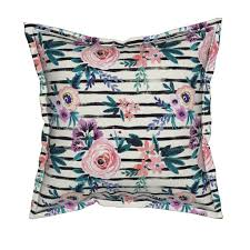 Home Decor Victoria Victoria Floral Stripe Pillow By Crystal Walen Roostery Home Decor