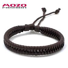 chain bracelet with leather images Wholesale mozo fashion men women hand bracelet leather rope chain jpg