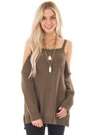 open shoulder sweater olive open shoulder sleeve sweater lime lush