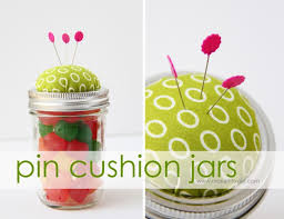 pin cushion jars fill with buttons notions or candy