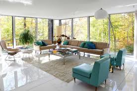 Retro Living Room by Large And Clean Living Room With Open Plan Retro Design Modern