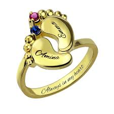 baby name rings images Ailin baby feet ring gold color mother ring with birthstone jpg