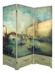 Venetian Room Divider 1960s Three Panel Rattan And Mirror Floor Screen Room Divider