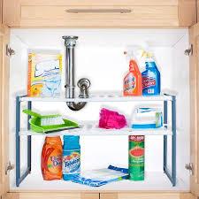 Kitchen Sink Shelves - stalwart adjustable under sink shelf organizer unit walmart com