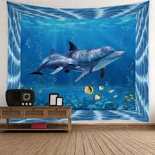 dolphin home decor 2018 home decor fish dolphin ocean print wall tapestry light blue w