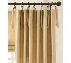 Tie Top Curtains Dupioni Silk Tie Top Drape Pottery Barn